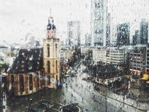 Frankfurt city in a rainy day royalty free stock photography