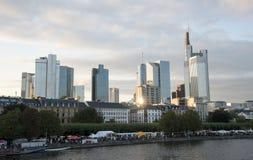 Frankfurt city skyline Stock Photos