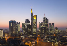 Frankfurt city skyline Stock Photography