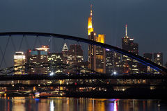 Frankfurt city skyline at night Royalty Free Stock Image