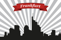 Frankfurt city skyline with rays background and ribbon Royalty Free Stock Images