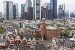 Frankfurt city view. With modern architecture and Romerberg stock photography