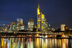 Frankfurt cityscape at night Stock Images