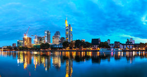 Frankfurt cityscape at night Stock Photo