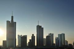 Frankfurt cityscape panorama. Modern city stock photography