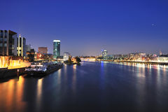 Frankfurt cityscape panorama at night Stock Photography