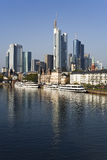 Frankfurt cityscape reflected in River Main Stock Photos