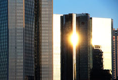 Frankfurt cityscape with sunbeam reflections Royalty Free Stock Photos