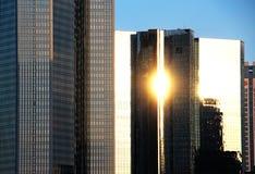 Frankfurt cityscape with sunbeam reflections Royalty Free Stock Photos
