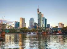 Frankfurt cityscape at sunrise Stock Photo