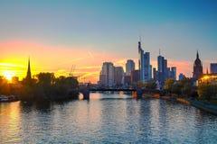 Frankfurt cityscape at sunset Stock Photo