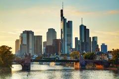 Frankfurt cityscape at sunset Royalty Free Stock Image