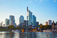 Frankfurt cityscape at sunset Stock Images