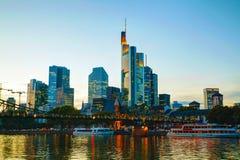 Frankfurt cityscape at sunset Royalty Free Stock Photos