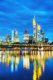 Frankfurt cityscape at sunset Stock Photos