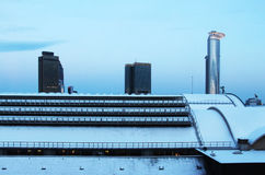 Frankfurt cityscape under the snow Royalty Free Stock Photography