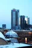 Frankfurt cityscape under the snow Royalty Free Stock Images