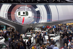 Frankfurt crowd IAA Audi. FRANKFURT, GERMANY - SEP 16, 2015: View in the Audi Hall during IAA 2015 motor show Stock Photos