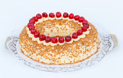 Frankfurt crown cake with cherries on white background Royalty Free Stock Images