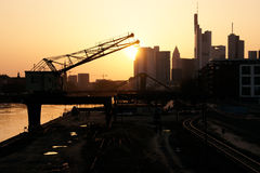 Frankfurt at dawn. View from the river Main. Germany Royalty Free Stock Photography