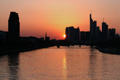 Frankfurt at dawn, Germany Royalty Free Stock Photos
