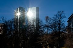 Frankfurt - December 03: Shining Deutsche Bank towers in the sun on December 03, 2016 in Frankfurt stock photography