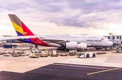 Frankfurt Deutschland 23 02 19 Asiana Airlines Airbus Jet-Passagierflugzeugstellung am fraport Flughafenwarteflug stockfoto