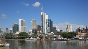 Frankfurt downtown skyline stock footage