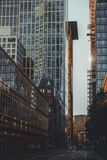 Frankfurt drapacz chmur i ulicy obraz stock