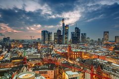 Frankfurt at dusk Royalty Free Stock Photography