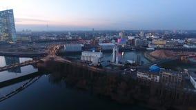 Frankfurt Eastend and Skyline - aerial view stock video
