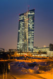Frankfurt ECB Building. FRANKFURT AM MAIN, GERMANY - MARCH 25, 2015: New modern building of the European Central Bank, ECB in Frankfurt Stock Image