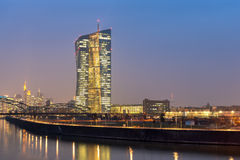 Frankfurt ECB Building. FRANKFURT AM MAIN, GERMANY - MARCH 25, 2015: New modern building of the European Central Bank, ECB in Frankfurt Royalty Free Stock Photo