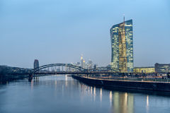 Frankfurt ECB Building. FRANKFURT AM MAIN, GERMANY - MARCH 25, 2015: New modern building of the European Central Bank, ECB in Frankfurt Stock Photo