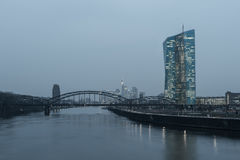 Frankfurt ECB Building. FRANKFURT AM MAIN, GERMANY - MARCH 25, 2015: New modern building of the European Central Bank, ECB in Frankfurt Stock Photography