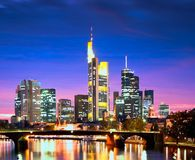 Frankfurt in the Evening. Skyline of the German city Frankfurt am Main royalty free stock photo