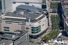 Frankfurt - f.m. - huvudsaklig Tyskland-antenn siktsZeil gata Arkivfoto