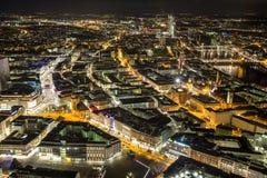 Frankfurt - f.m. - huvudsaklig Tyskland cityscape på natten Royaltyfria Bilder