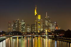 Frankfurt Financial District at Night Stock Photo