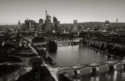 Frankfurt financial district skyline in black and white colors. Panoramic view of the business district in Frankfurt in black and white colors . ideal for Royalty Free Stock Images