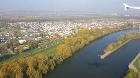 Frankfurt från det övre i luften Royaltyfri Fotografi