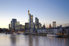 Frankfurt, Germany. Skyline of Frankfurt, Germany, modern finance district with superb skycrapers at the twilight royalty free stock image