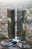 FRANKFURT, GERMANY - APRIL 18, 2013: The headquarters Deutsche Bank Twin Towers at Frankfurt am Main stock photography