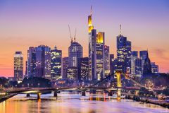 Frankfurt, Germany City Skyline. Frankfurt am Main, Germany City Skyline at dusk Stock Photo