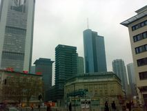 FRANKFURT, GERMANY - DECEMBER 22, 2007: Architecture and people on the streets city. FRANKFURT, GERMANY - DECEMBER 22, 2007: Architecture and people on the royalty free stock image