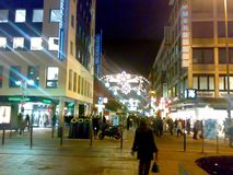 FRANKFURT, GERMANY - DECEMBER 22, 2007: Architecture and people on the streets city. FRANKFURT, GERMANY - DECEMBER 22, 2007: Architecture and people royalty free stock photo