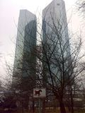FRANKFURT, GERMANY - DECEMBER 22, 2007: Architecture and people on the streets city. FRANKFURT, GERMANY - DECEMBER 22, 2007: Architecture and people on the stock photography