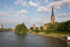 Frankfurt, Germany - Dreikoenigskirche, main river Royalty Free Stock Photo