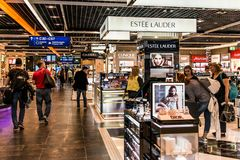 Frankfurt, Germany 29.09.2017 Duty Free shops at german airport duesseldorf with different luxury goods. Frankfurt, Germany 29.09.2017 Duty Free shops at german Royalty Free Stock Images