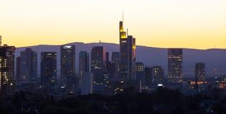 Frankfurt germany evening skyline Royalty Free Stock Photo